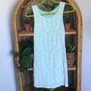 Teal and white summer dress